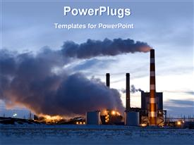 PowerPoint template displaying evening view of power plants emitting thick smoke into the clouds
