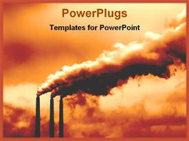 PowerPoint template displaying an industry with clouds made of smoke