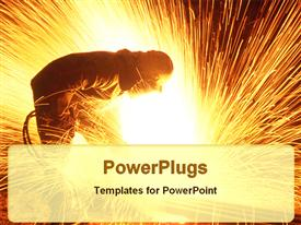 Steel cutter inside the steel plant powerpoint template