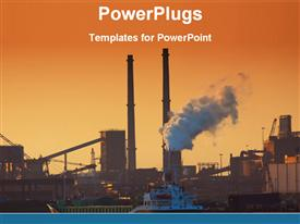 View of a big industrial plant template for powerpoint