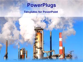 View of a industrial plant template for powerpoint
