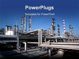 Wide perspective view of a refinery plant powerpoint template