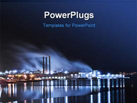 Large industry by the water and lights powerpoint template