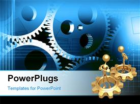 PowerPoint template displaying two gold plated 3D men in gold gears with other connected gears
