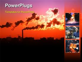 PowerPoint template displaying scenery of heavy industrialized area with thick smoke from exhaust causing air pollution