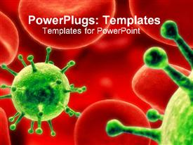 PowerPoint template displaying red blood cells and green viruses causing infection disease and mutation of health and science on a red background