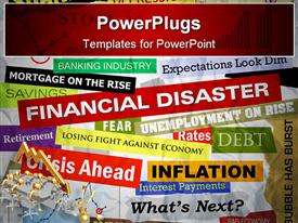 PowerPoint template displaying headlines of the bad business economy and economic disaster cutouts in various fonts and colors in the background.