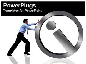 Man pushing an info symbol powerpoint design layout