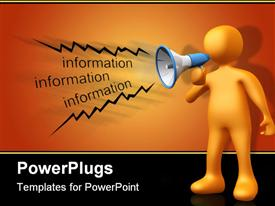 Person holding a megaphone giving information powerpoint design layout