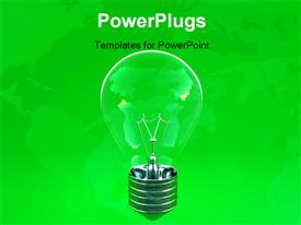 Image 3D of green eco light bulb background powerpoint template