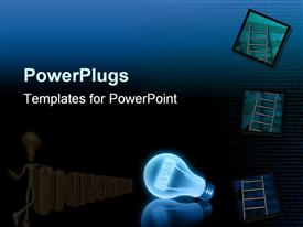 PowerPoint template displaying innovation Bulb and Ladder leads to success