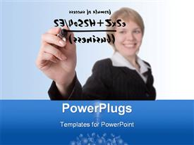 PowerPoint template displaying young woman smiling as she writes formula of success in black ink