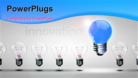 PowerPoint template displaying distinct blue light bulb stands out from others depicting innovation