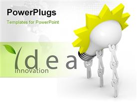 PowerPoint template displaying the words idea innovation with a bulb