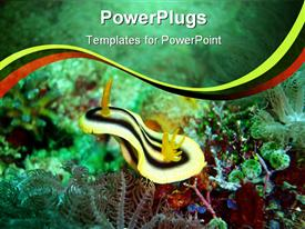 PowerPoint template displaying close up shot of the of plants inside a sea