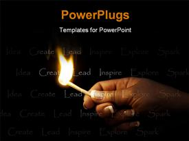 Hand holding a blazing match lighting the words inspire, create, idea, explore, lead, spark powerpoint theme