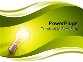 Light bulb positioned in the bottom left corner laying down & illuminating a green surface powerpoint design layout