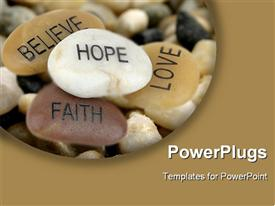 PowerPoint template displaying pile of stones carved with inspirational words in the background.