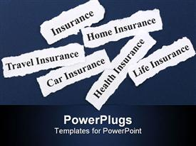 PowerPoint template displaying insurance related words written on small pieces of white paper, insurance, home insurance, travel insurance, car insurance, health insurance and life insurance