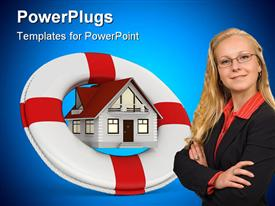PowerPoint template displaying house insurance services icon with a blond business woman in the background.