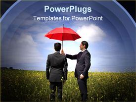 PowerPoint template displaying insurance agent in the field giving you the best protection everywhere in the background.