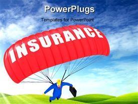 PowerPoint template displaying man in blue suit holding briefcase with red Insurance parachute