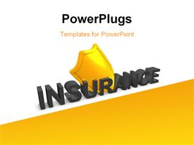 PowerPoint template displaying 4d depiction Shield insurance protection in the background.