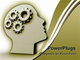 PowerPoint template displaying human head profile with gears in the background.