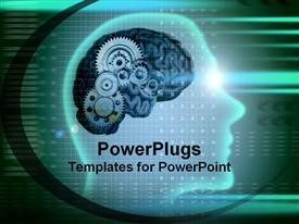 PowerPoint template displaying human shaped head with gears clicking in the background.