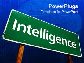 PowerPoint template displaying intelligence - road-sign. . Includes Clipping Path in the background.