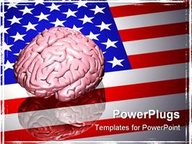 PowerPoint template displaying large pink human brain sitting on top of a reflective United States flag in the background.