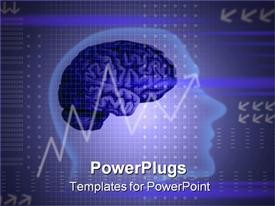PowerPoint template displaying head shape, a brain and a chart on an abstract background