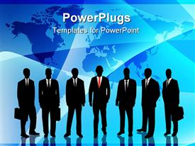 PowerPoint template displaying commercial portrait silhouette standing in front of world map