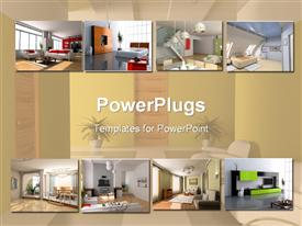 PowerPoint template displaying interior design  apartment modules  home building collage bathroom living room background