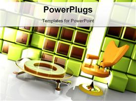 PowerPoint template displaying computer generated depiction - Stylish Interior in the background.