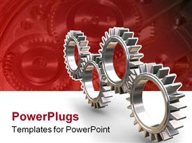PowerPoint template displaying four silver colored interlocking gears on red and white background