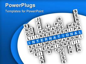 PowerPoint template displaying multilingual concept (blue white cubes crossword series) in the background.