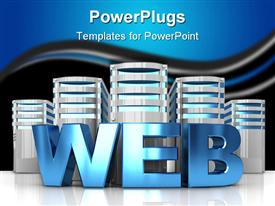 PowerPoint template displaying abstract 3D internet servers and text 'web'
