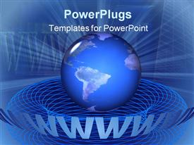 PowerPoint template displaying a blue Earth with www in the background