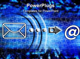 Blue communication poster with symbols - envelope and email powerpoint template