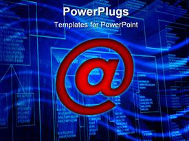 PowerPoint template displaying red email symbol over blue futuristic screen