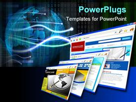 PowerPoint template displaying four technology internet business websites are standing upright