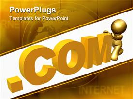 PowerPoint template displaying gold icon browsing the world wide web online