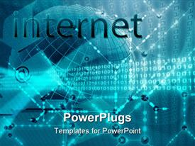 PowerPoint template displaying internet depiction Digital data transfer wallpaper abstract background