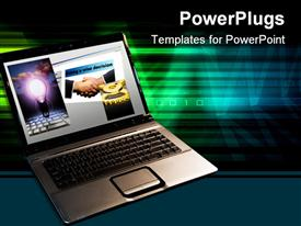 PowerPoint template displaying a laptop with a number of greenish lines in the background