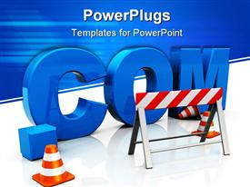 PowerPoint template displaying text '.com' construction internet start up concept