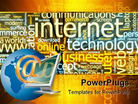 PowerPoint template displaying word cloud concept internet web glowing light effect
