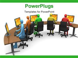 PowerPoint template displaying computer generated depiction. - business - internet access #4