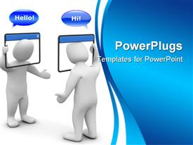 PowerPoint template displaying internet chat concept. 3D depiction