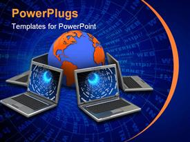 PowerPoint template displaying internet terms in background with laptops surrounding earth globe
